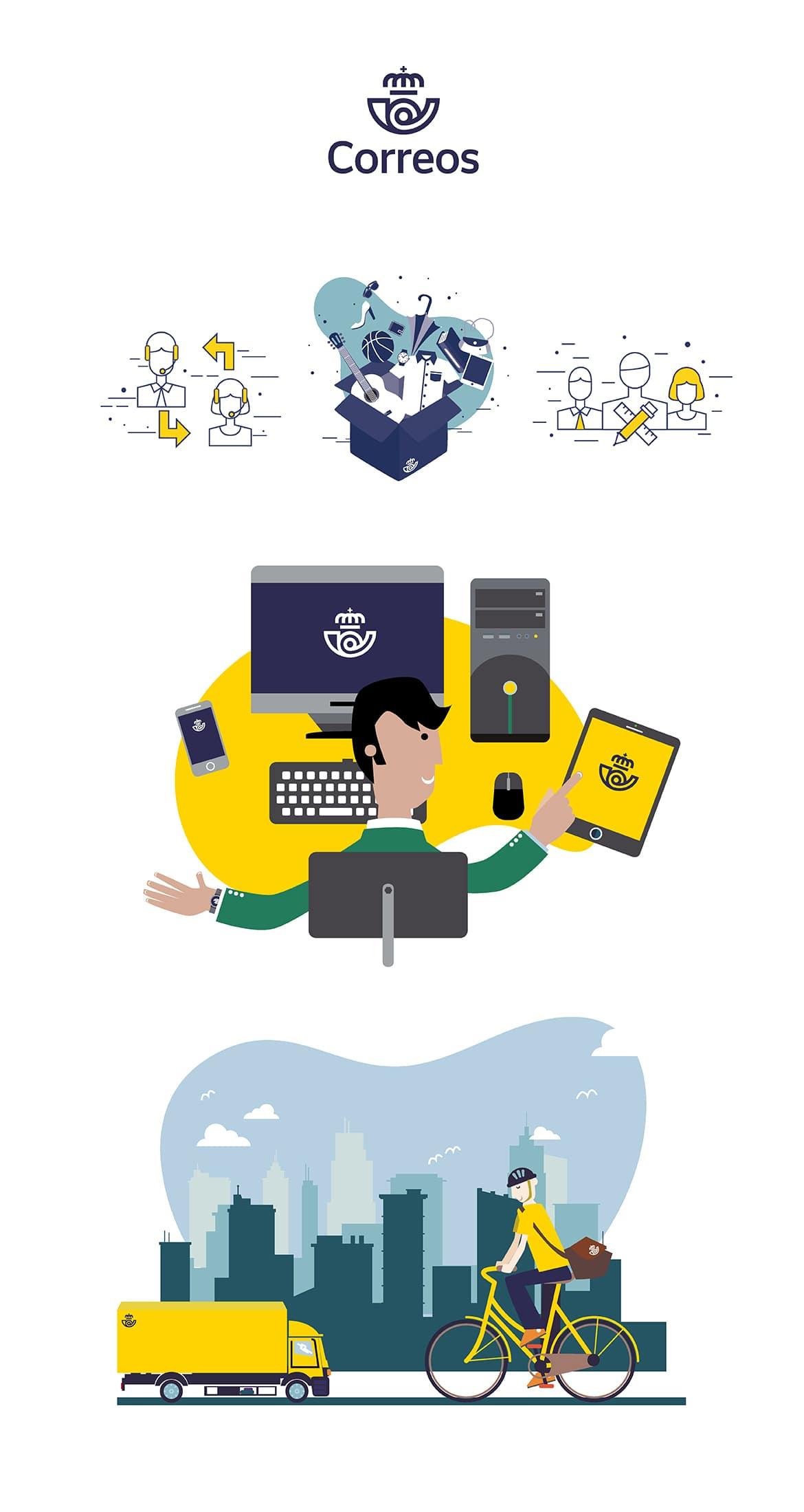 Diseño de ilustraciones correos - Alicante
